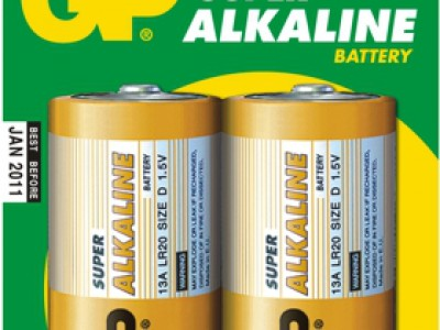 GP D Super alkaline battery, 2pk carded