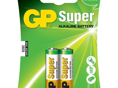 GP AA Super alkaline battery, 2pk carded