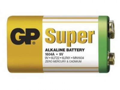 GP Super 9V alkaline battery 1pc shrink BULK CASE (500 shrinks)
