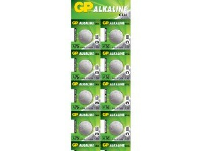 GP A76 (LR44) 1.5V Mercury Free Alkaline Button Cell, 10pc tear strip (TS)