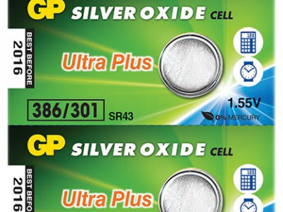GP 386 Ultra Silver Oxide Button Cell, 5pc tear strip (TS)