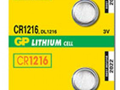 GP 1216 3V Lithium Coin Cell (25 mAh), 5pc tear strip (TS)