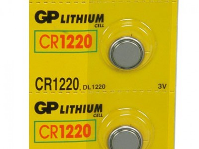 GP 1220 3V Lithium Coin Cell (36 mAh), 5pc tear strip (TS)