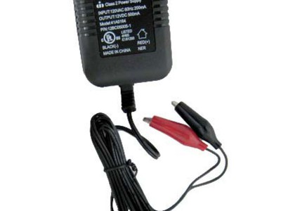 12V, 500 mA unregulated single stage charger with alligator clips