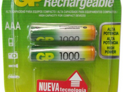 GP AAA Rechargeable 1000mAh NiMh battery 2pk