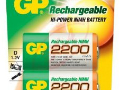 GP D Rechargeable 2200mAh NiMh battery 2pk