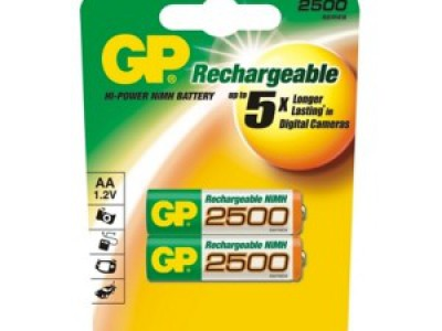 GP AA Rechargeable 2500mAh NiMh battery 2pk
