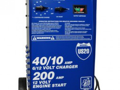 CHARGER, 6/12V 40/40/10A, 200 AMP CRANKING ASSIST, WHEELS (WITH TIMER)