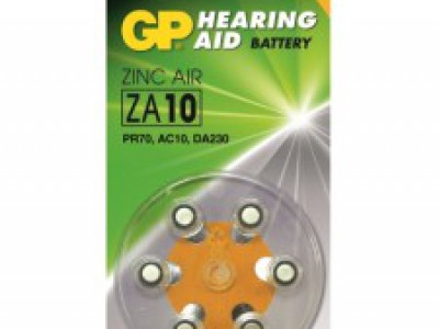 GP Size 10 Merc Free Zinc Air Hearing Aid Battery, dial 6pk