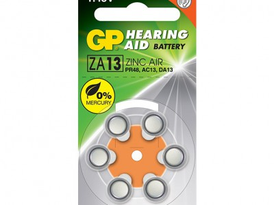 GP Size 13 Merc Free Zinc Air Hearing Aid Battery, dial 6pk
