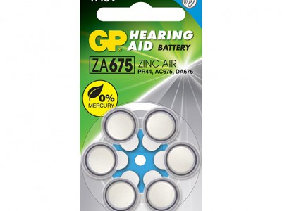 GP Size 675 Merc Free Zinc Air Hearing Aid Battery, dial 6pk